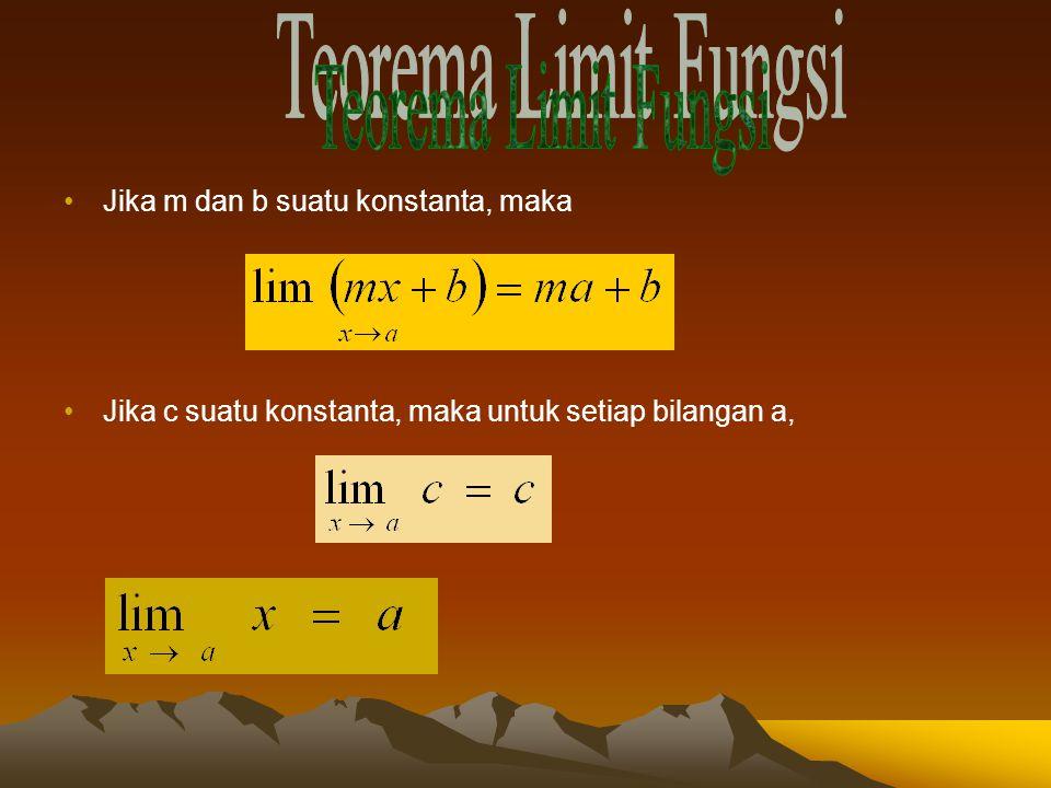 Teorema Limit Fungsi Jika m dan b suatu konstanta, maka