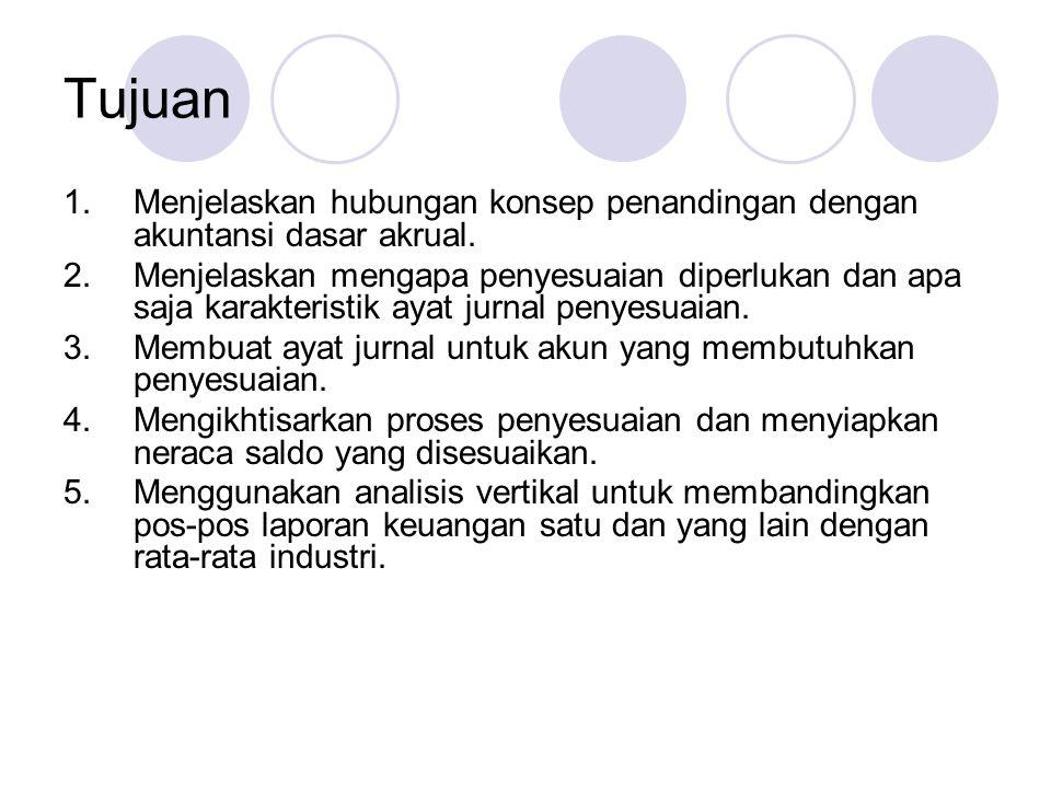 Tujuan Menjelaskan hubungan konsep penandingan dengan akuntansi dasar akrual.