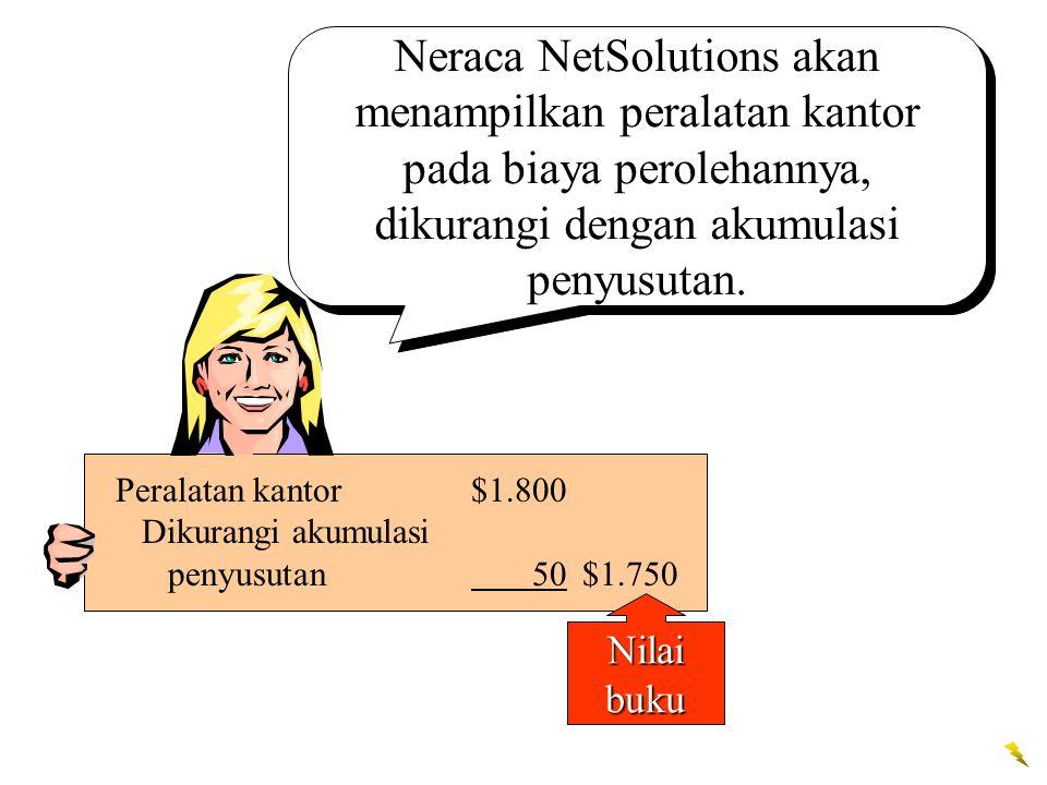 Neraca NetSolutions akan menampilkan peralatan kantor pada biaya perolehannya, dikurangi dengan akumulasi penyusutan.