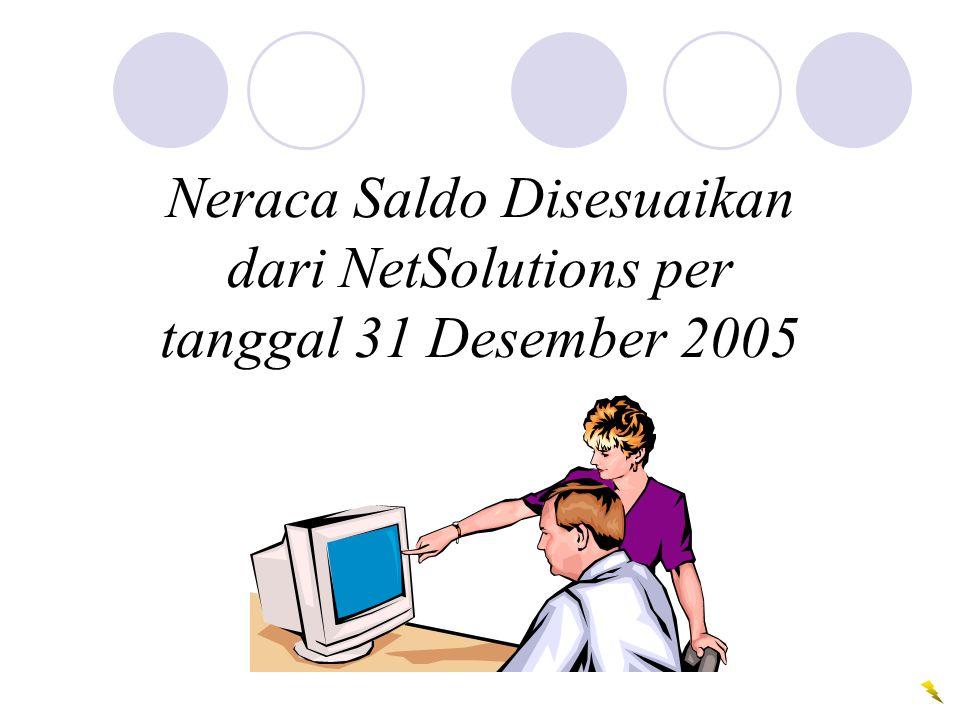 Neraca Saldo Disesuaikan dari NetSolutions per tanggal 31 Desember 2005
