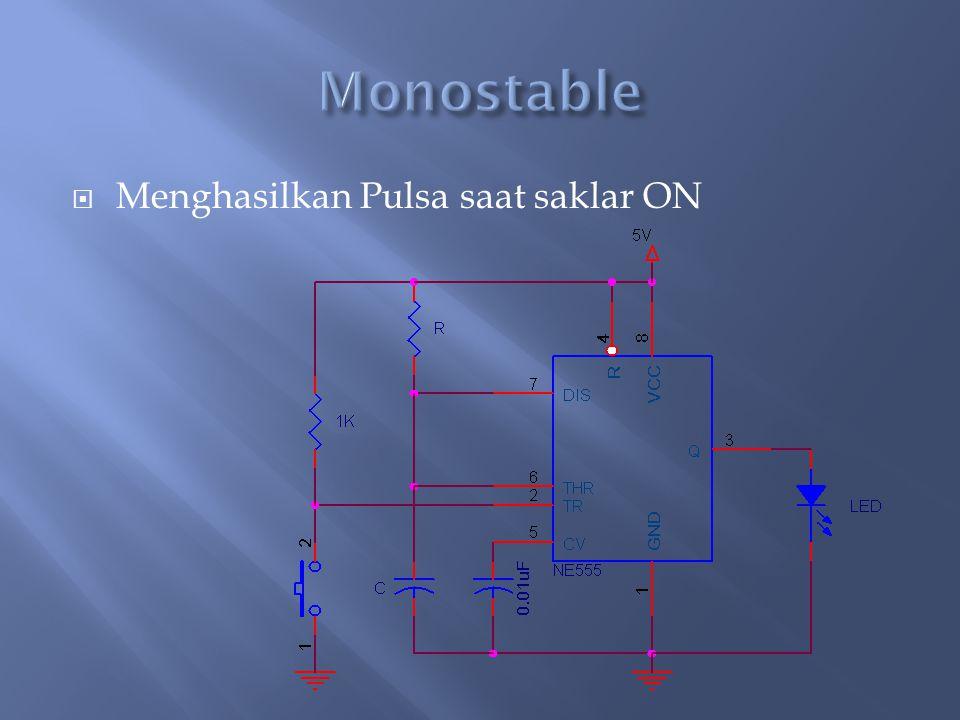 Monostable Menghasilkan Pulsa saat saklar ON