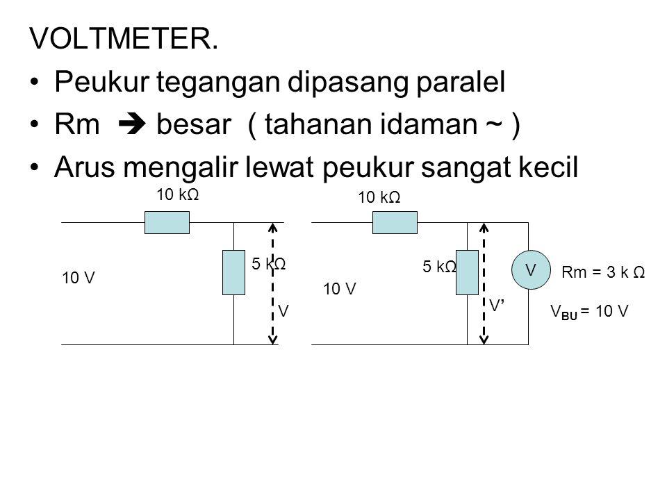 Peukur tegangan dipasang paralel Rm  besar ( tahanan idaman ~ )
