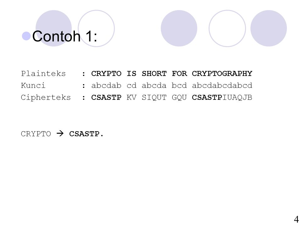Contoh 1: Plainteks : CRYPTO IS SHORT FOR CRYPTOGRAPHY