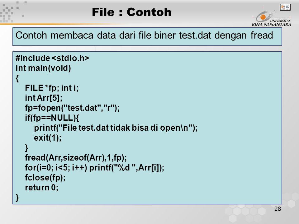 File : Contoh Contoh membaca data dari file biner test.dat dengan fread. #include <stdio.h> int main(void)