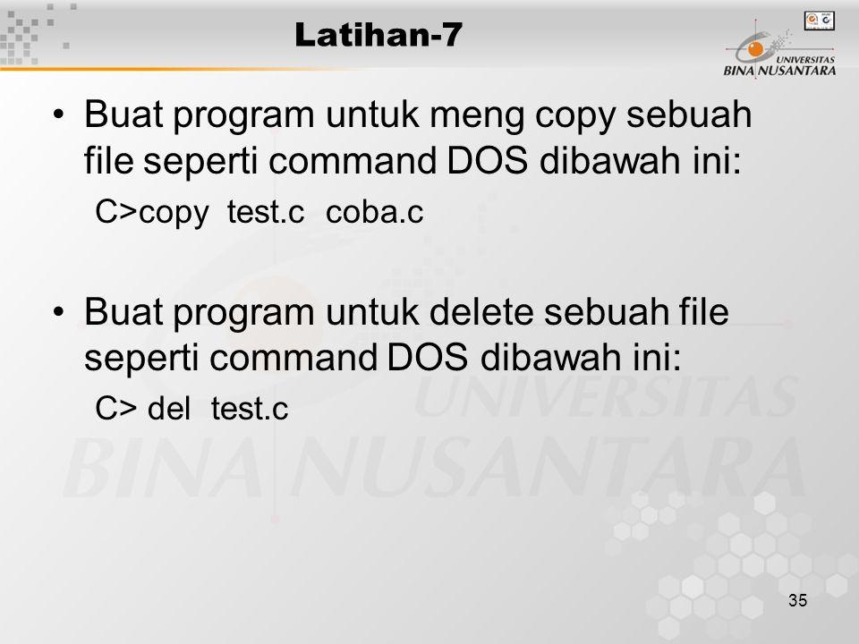 Buat program untuk delete sebuah file seperti command DOS dibawah ini: