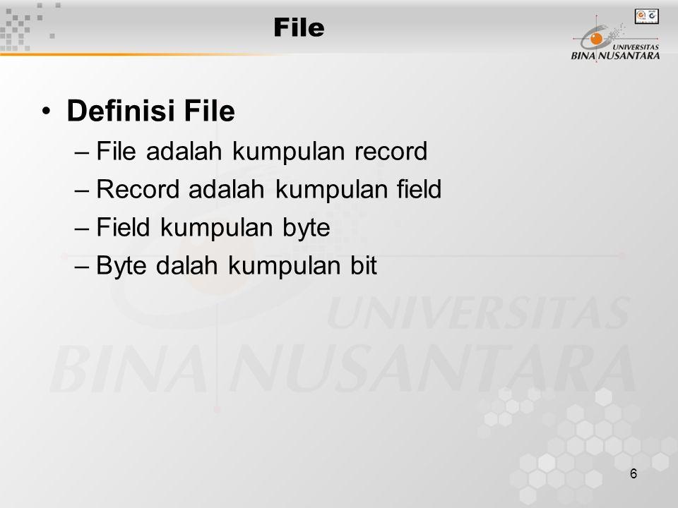 Definisi File File File adalah kumpulan record