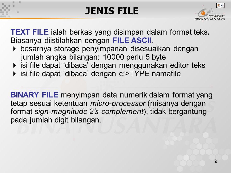 JENIS FILE TEXT FILE ialah berkas yang disimpan dalam format teks. Biasanya diistilahkan dengan FILE ASCII.