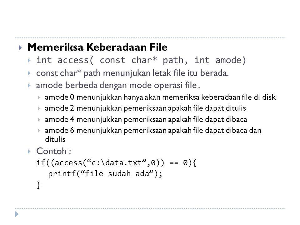 Memeriksa Keberadaan File