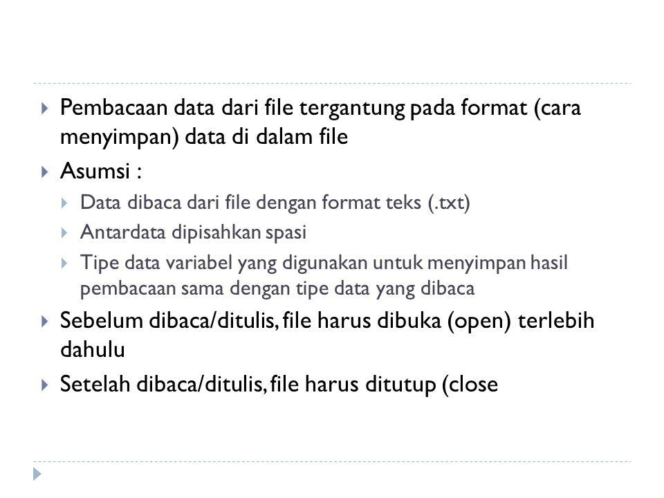 Sebelum dibaca/ditulis, file harus dibuka (open) terlebih dahulu