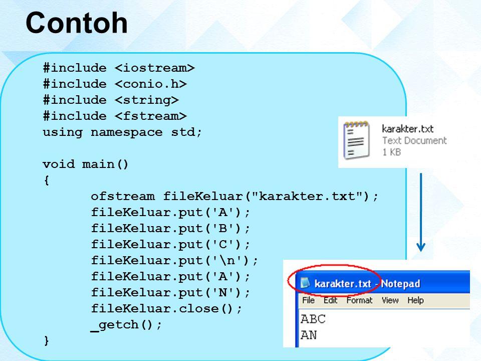 Contoh #include <iostream> #include <conio.h>