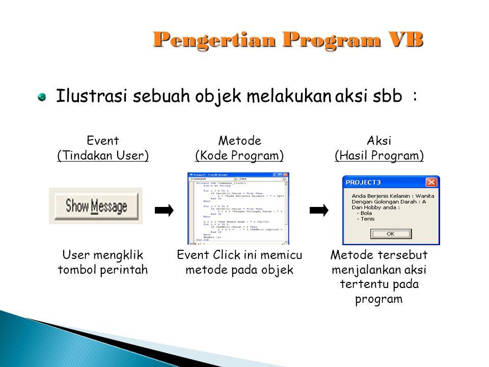 Pengertian Program VB Ilustrasi sebuah objek melakukan aksi sbb :
