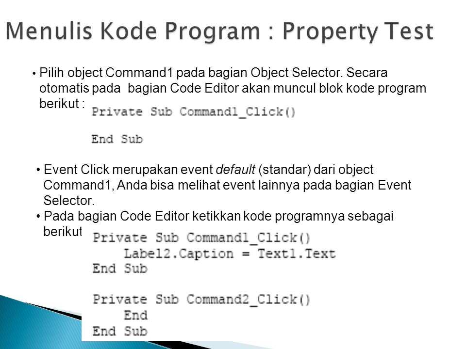 Menulis Kode Program : Property Test