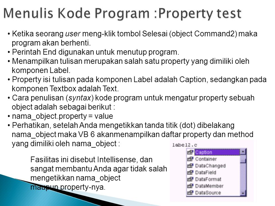 Menulis Kode Program :Property test