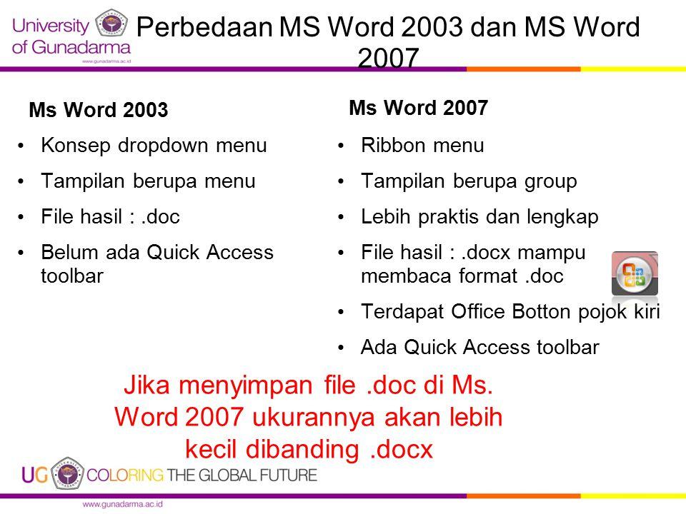 Perbedaan MS Word 2003 dan MS Word 2007