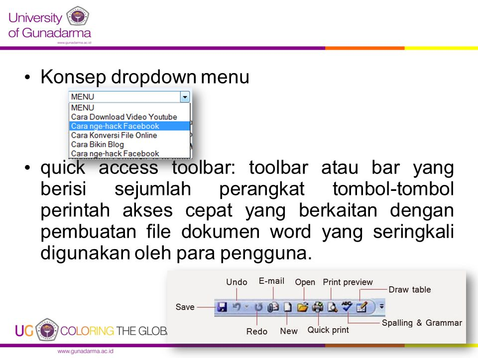 Konsep dropdown menu