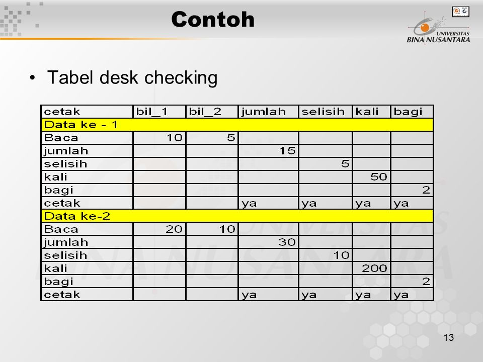 Contoh Tabel desk checking