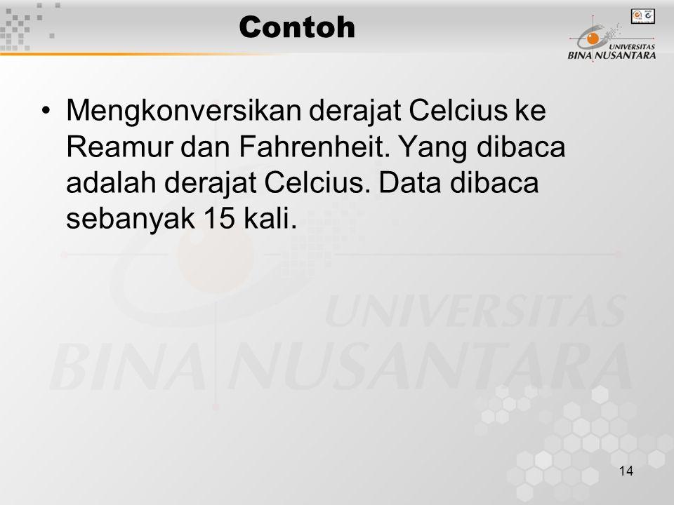 Contoh Mengkonversikan derajat Celcius ke Reamur dan Fahrenheit.