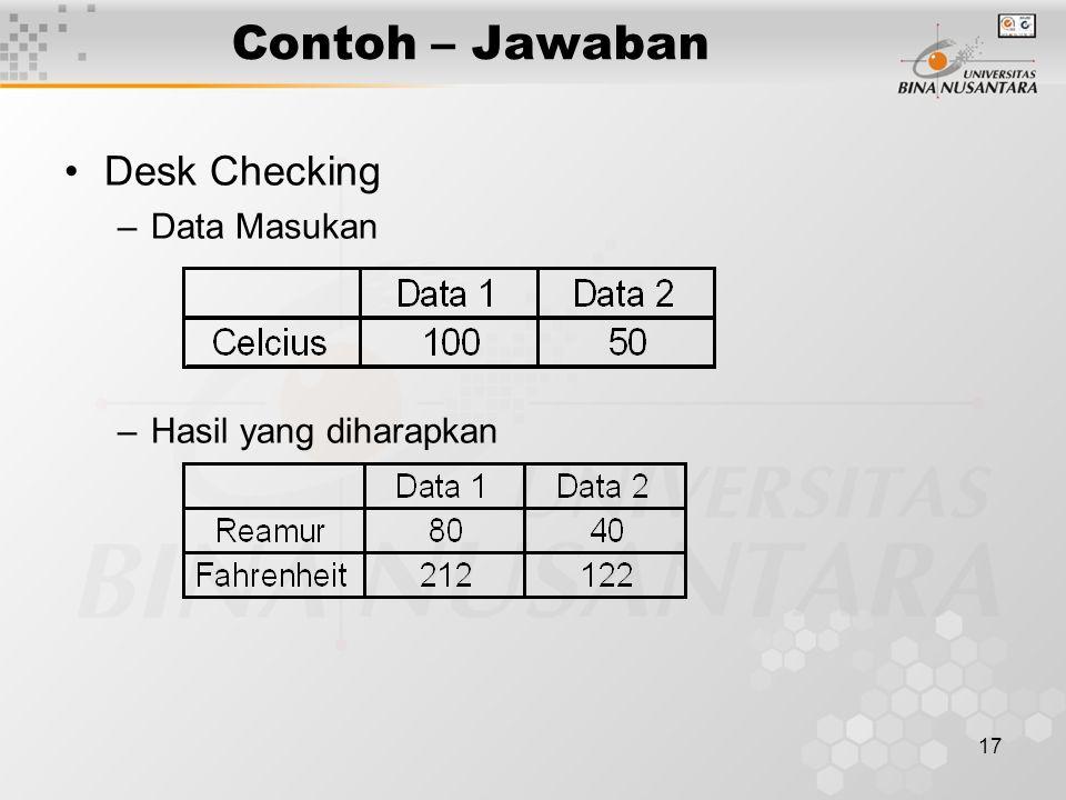 Contoh – Jawaban Desk Checking Data Masukan Hasil yang diharapkan