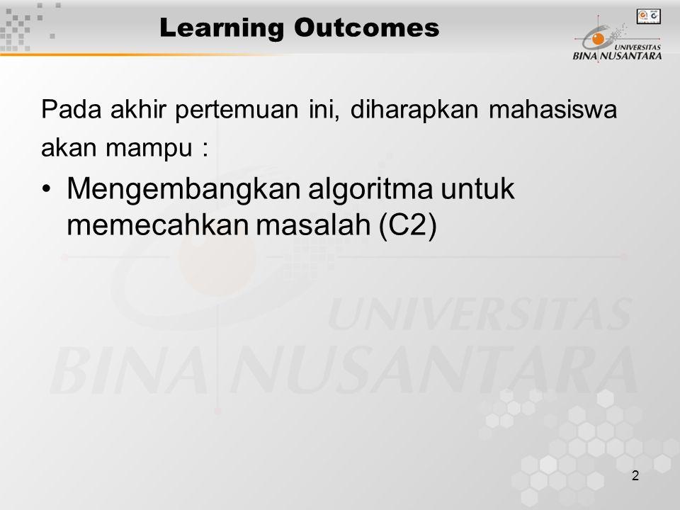 Mengembangkan algoritma untuk memecahkan masalah (C2)