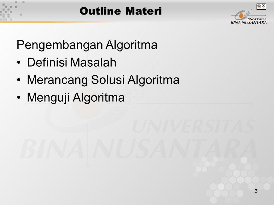 Pengembangan Algoritma Definisi Masalah Merancang Solusi Algoritma