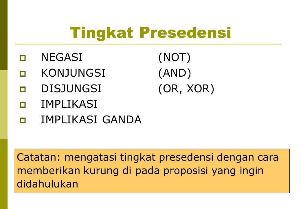 Tingkat Presedensi NEGASI (NOT) KONJUNGSI (AND) DISJUNGSI (OR, XOR)