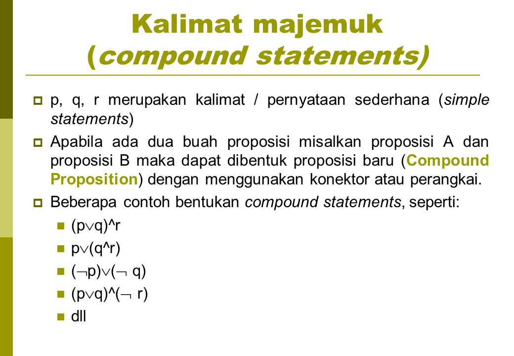 Kalimat majemuk (compound statements)