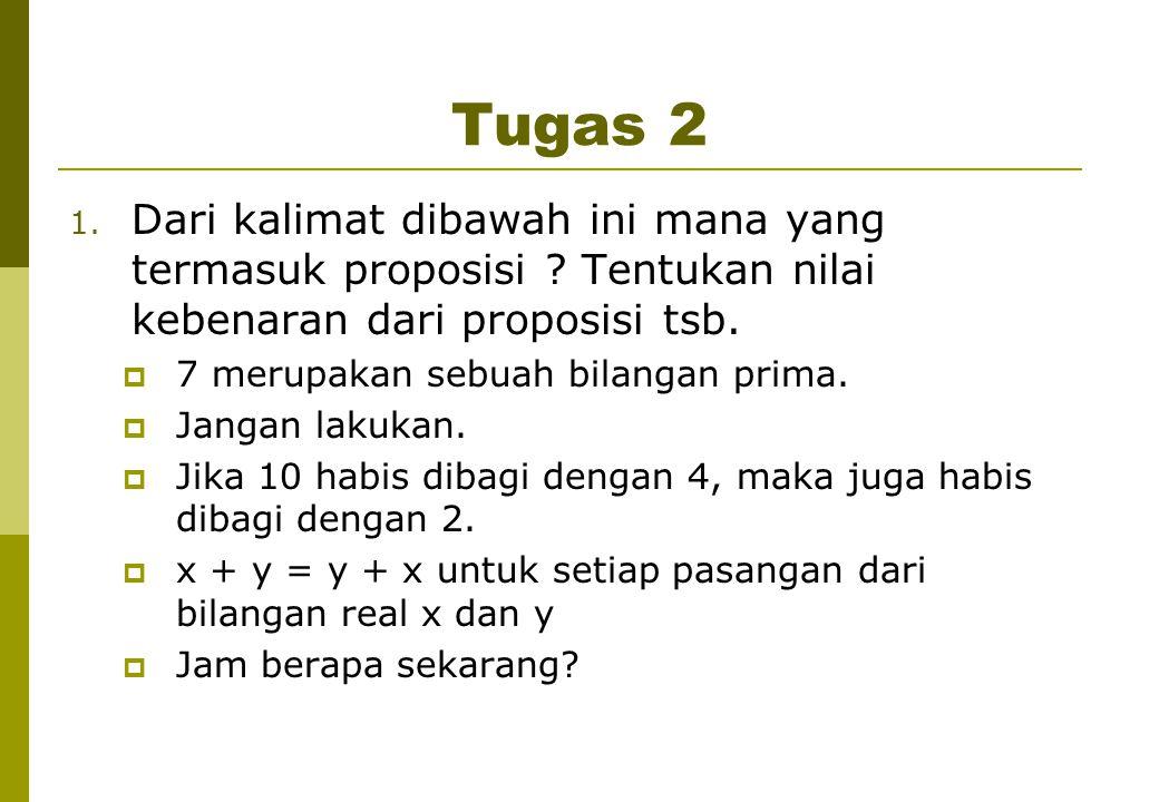 Tugas 2 Dari kalimat dibawah ini mana yang termasuk proposisi Tentukan nilai kebenaran dari proposisi tsb.