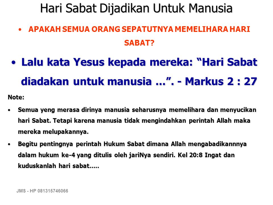 Hari Sabat Dijadikan Untuk Manusia