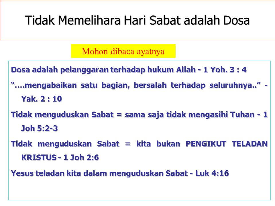 Tidak Memelihara Hari Sabat adalah Dosa