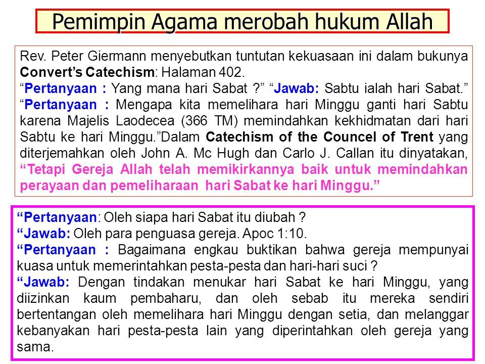 Pemimpin Agama merobah hukum Allah