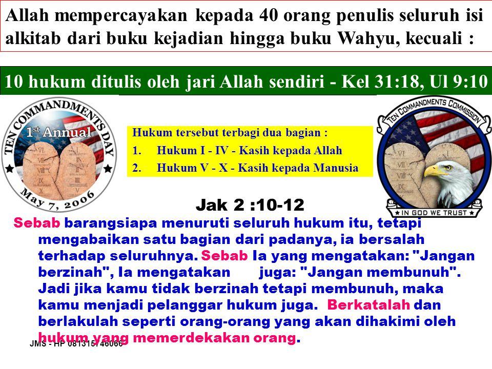 10 hukum ditulis oleh jari Allah sendiri - Kel 31:18, Ul 9:10