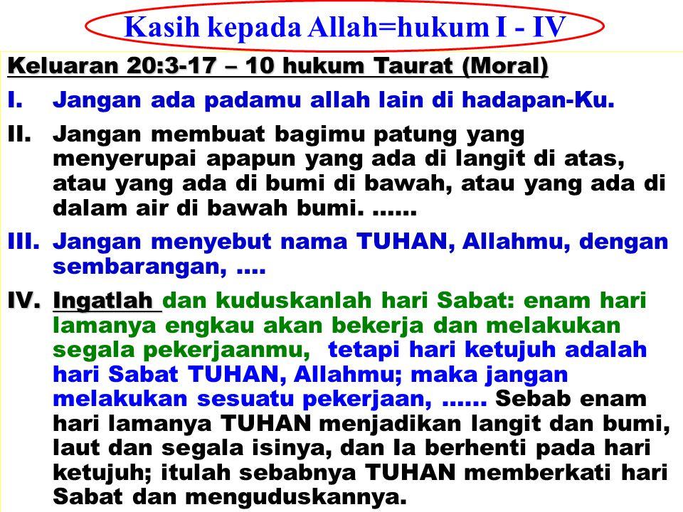 Kasih kepada Allah=hukum I - IV