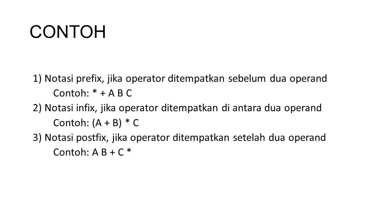 CONTOH 1) Notasi prefix, jika operator ditempatkan sebelum dua operand