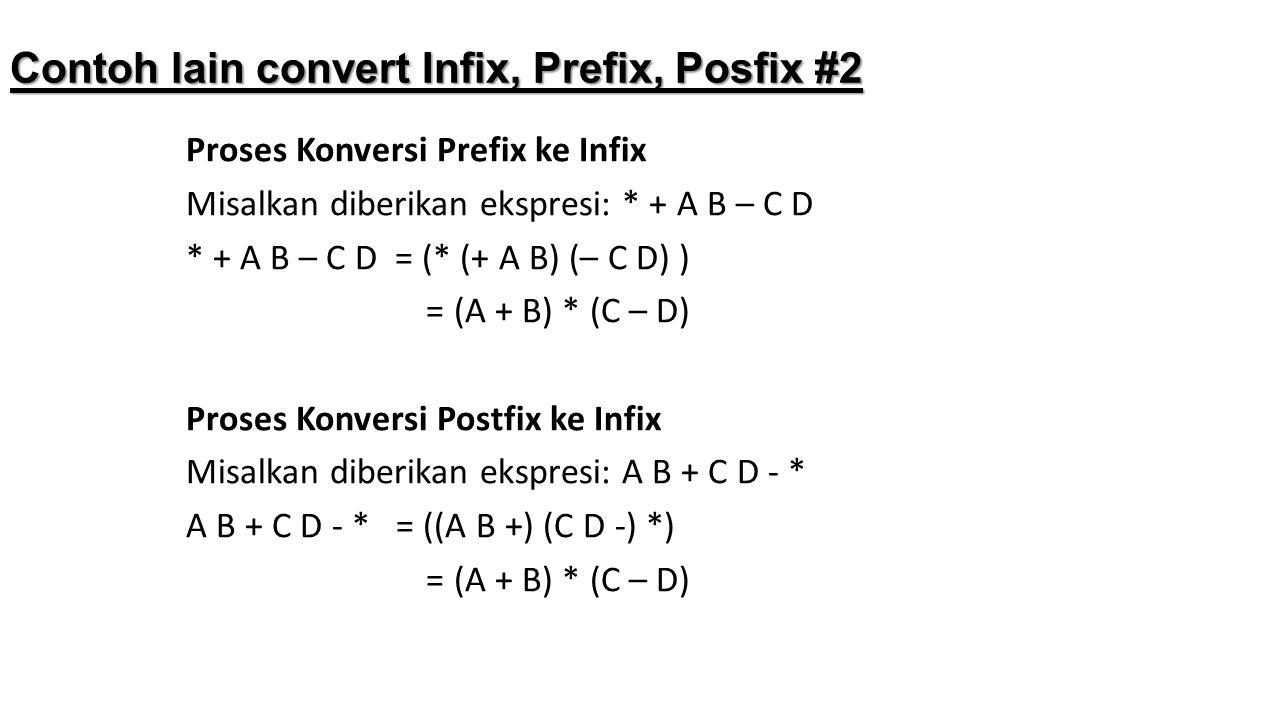 Contoh lain convert Infix, Prefix, Posfix #2