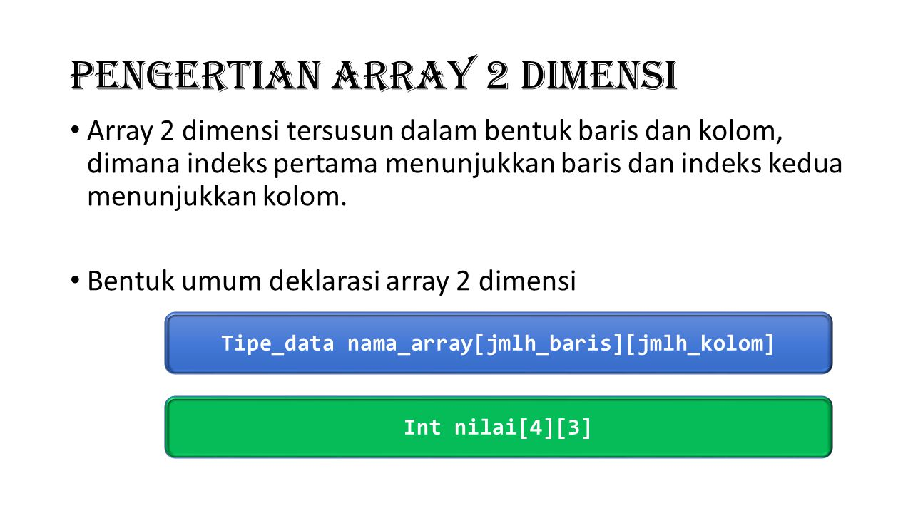 Pengertian Array 2 Dimensi