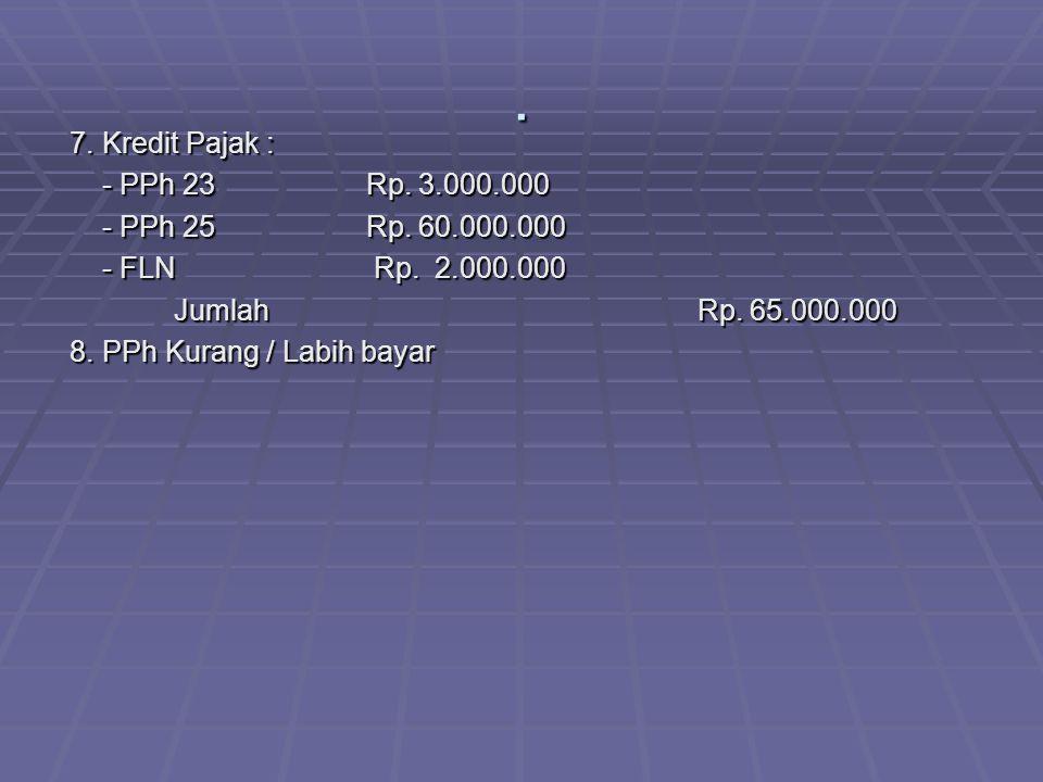 . 7. Kredit Pajak : - PPh 23 Rp. 3.000.000 - PPh 25 Rp. 60.000.000