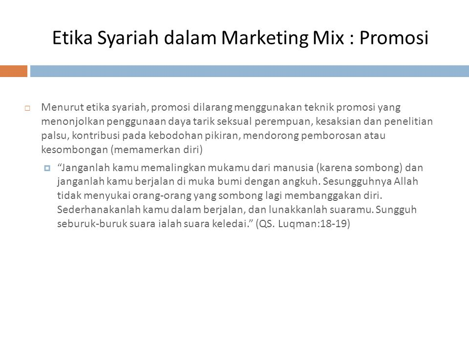 Etika Syariah dalam Marketing Mix : Promosi