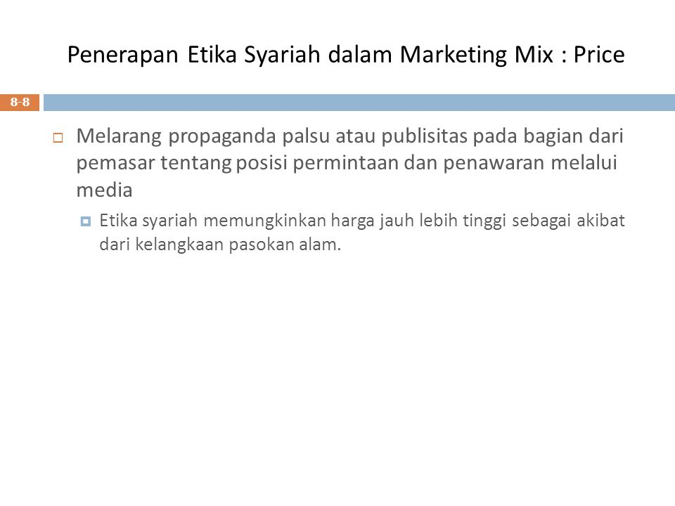 Penerapan Etika Syariah dalam Marketing Mix : Price