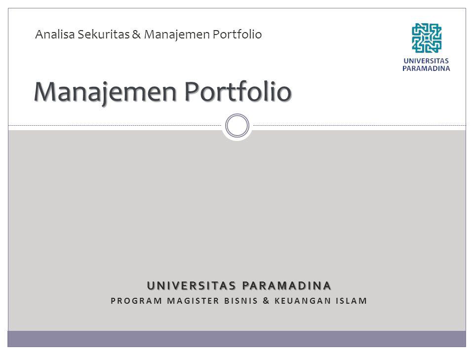 UNIVERSITAS PARAMADINA Program magister bisnis & keuangan islam