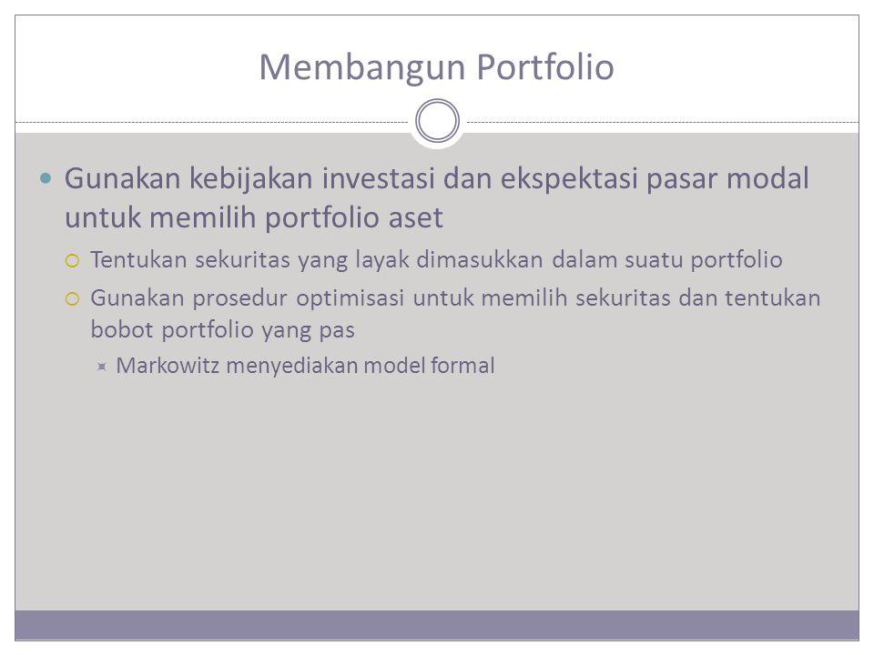 Membangun Portfolio Gunakan kebijakan investasi dan ekspektasi pasar modal untuk memilih portfolio aset.