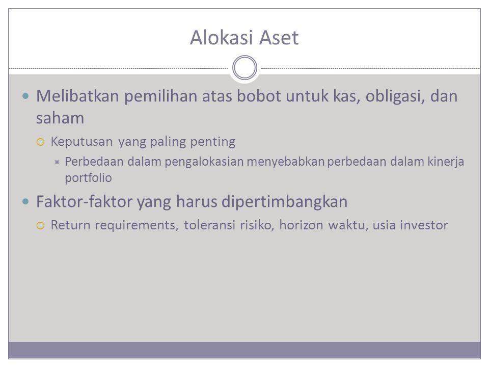 Alokasi Aset Melibatkan pemilihan atas bobot untuk kas, obligasi, dan saham. Keputusan yang paling penting.