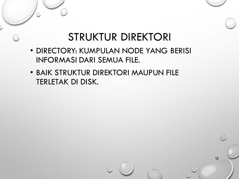 Struktur Direktori Directory: kumpulan node yang berisi informasi dari semua file.