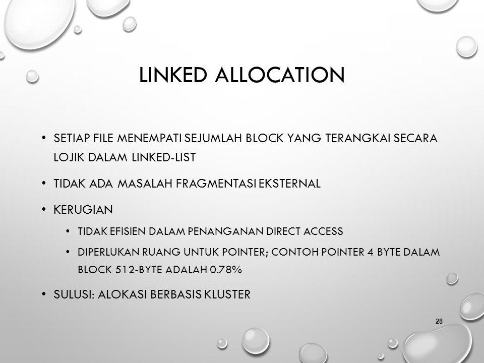 Linked Allocation Setiap file menempati sejumlah block yang terangkai secara lojik dalam linked-list.
