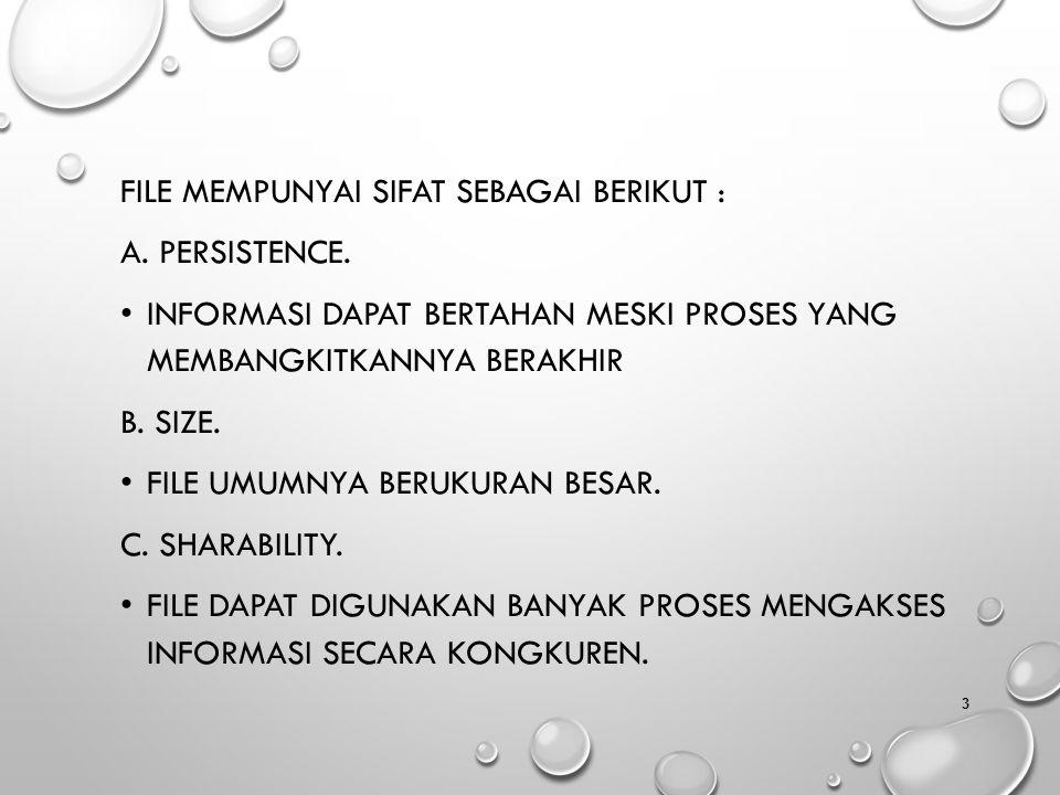 File mempunyai sifat sebagai berikut :