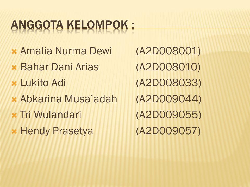 Anggota Kelompok : Amalia Nurma Dewi (A2D008001)