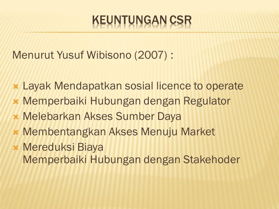 keuntungan CSR Menurut Yusuf Wibisono (2007) :
