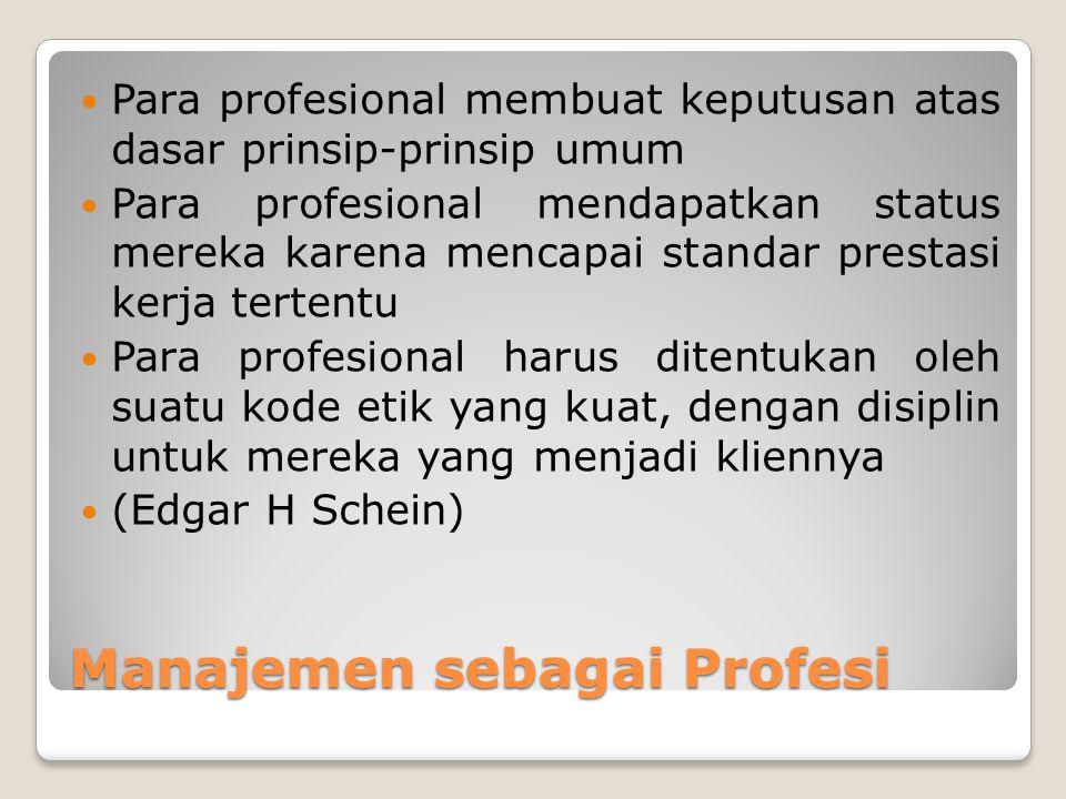 Manajemen sebagai Profesi