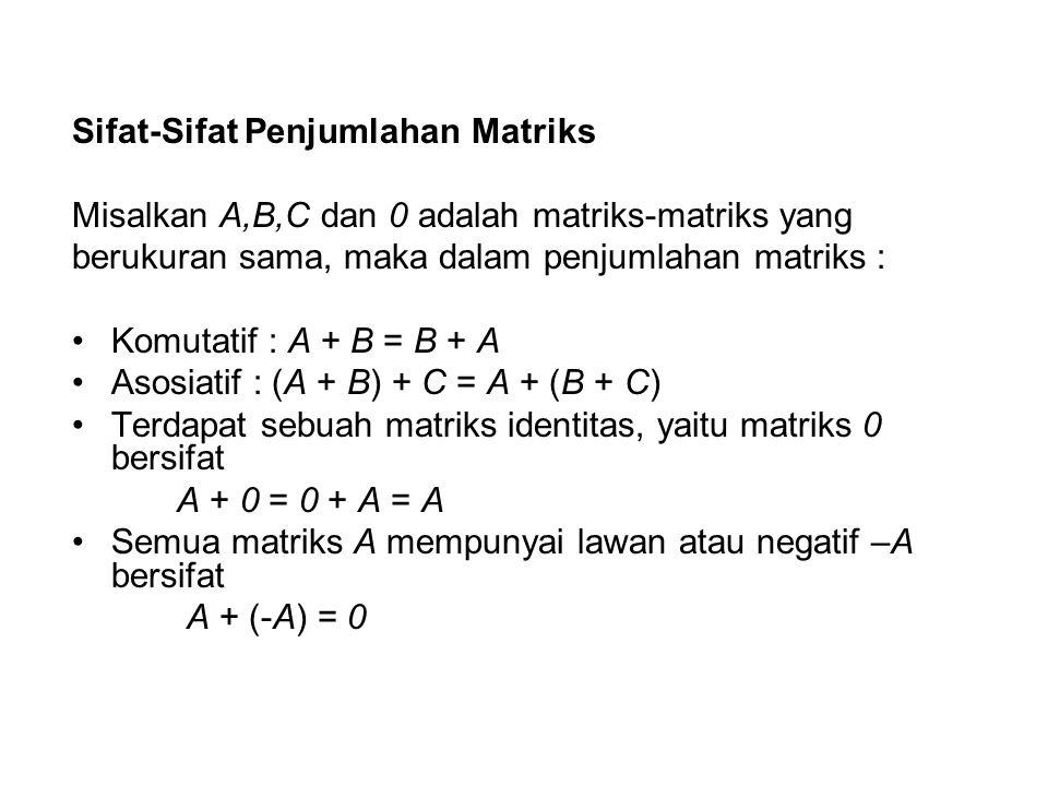 Sifat-Sifat Penjumlahan Matriks