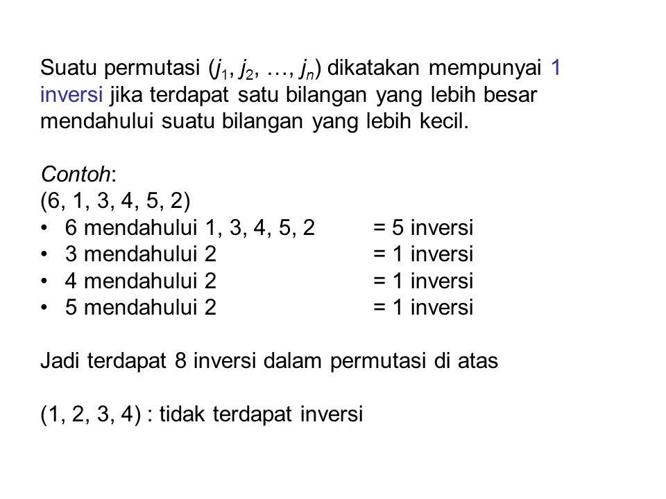 Suatu permutasi (j1, j2, …, jn) dikatakan mempunyai 1