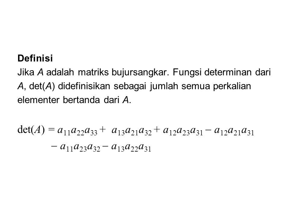 det(A) = a11a22a33 + a13a21a32 + a12a23a31  a12a21a31